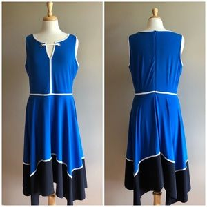 Ivanka Trump Blue Colorblock Asymmetrical Dress